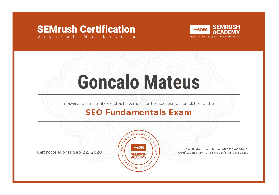 Image of SEMRush Academy SEO Fundamentals Certificate