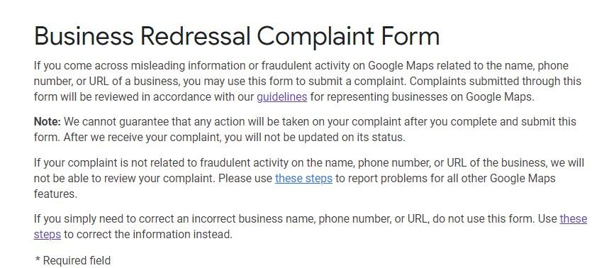 screenshot of Google My Business Redressal Complaint Form Intro