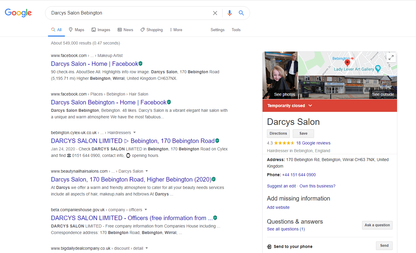 screenshot of Google My Business Knowledge Panel in Google Search Query Trigger