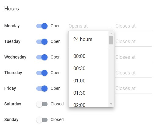 screenshot of Google My Business Hours Editor - Opening Time