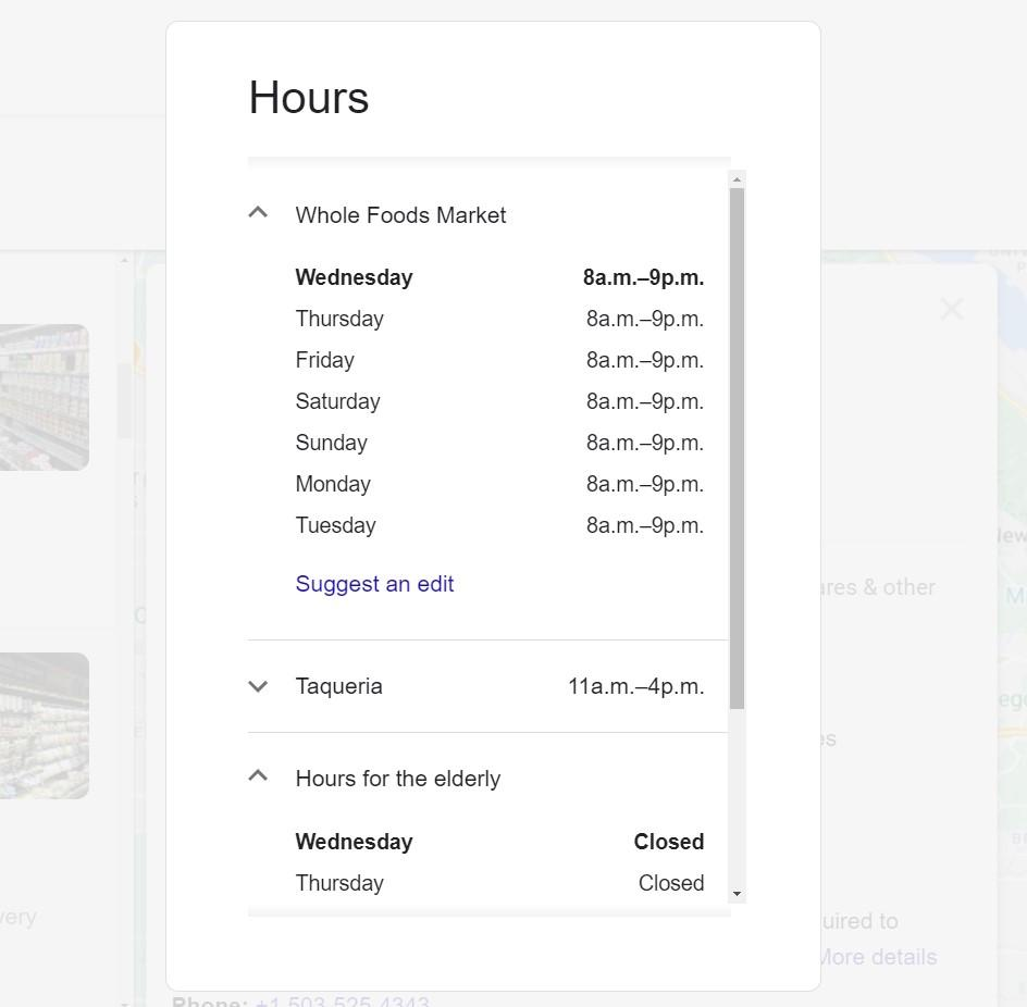 Screenshot of Google My Business Hours on the Public Profile
