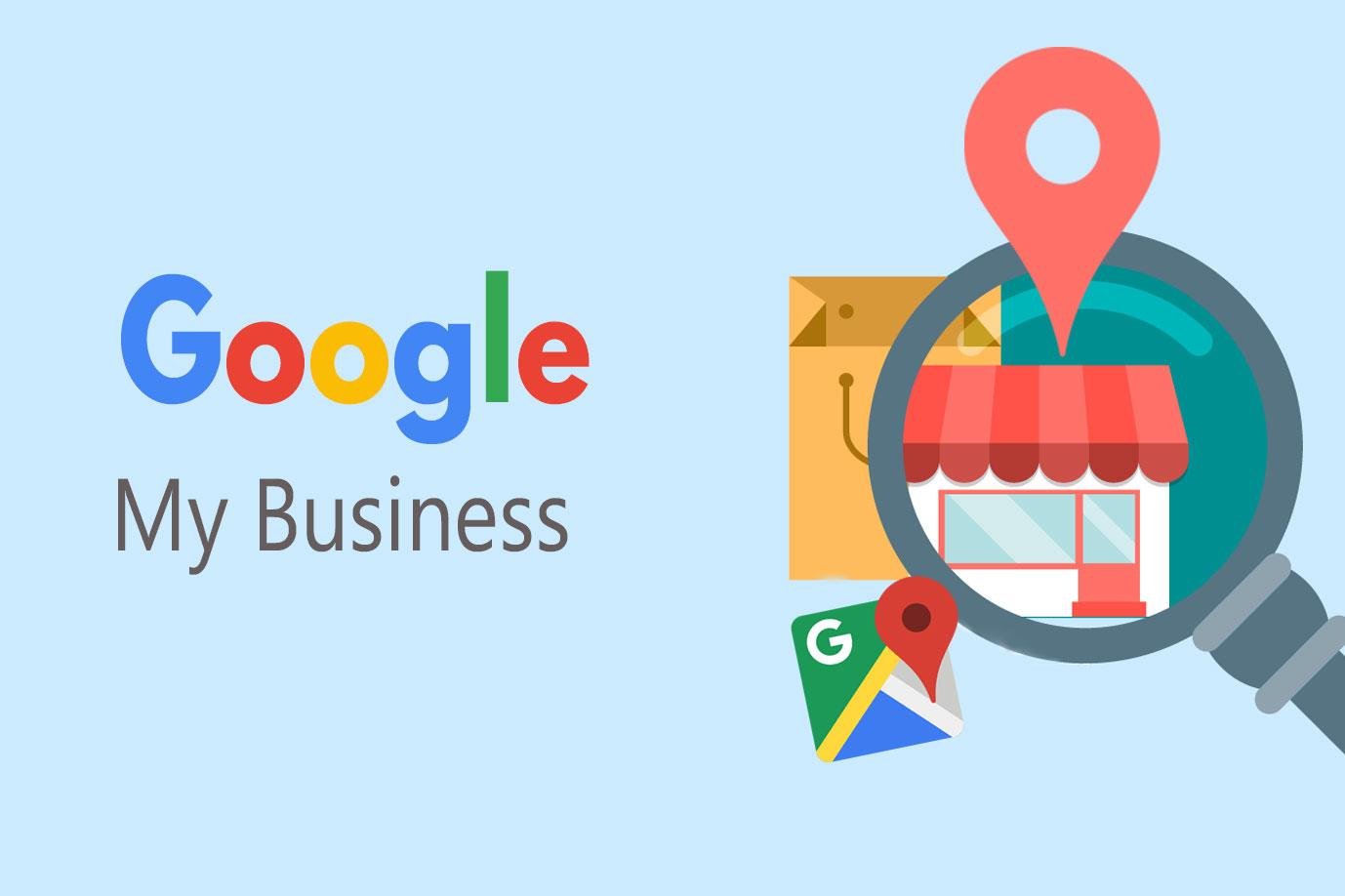 Google My Business in text with local search icon and google maps icon