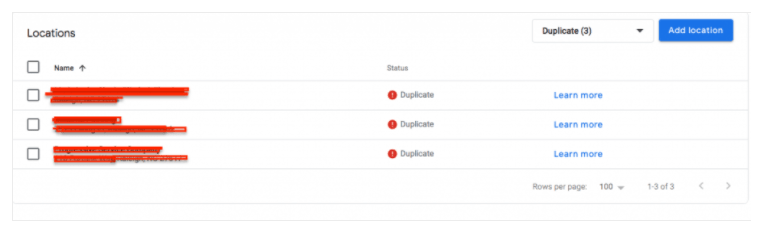 screenshot of Google My Business Manage Locations section with Duplicates