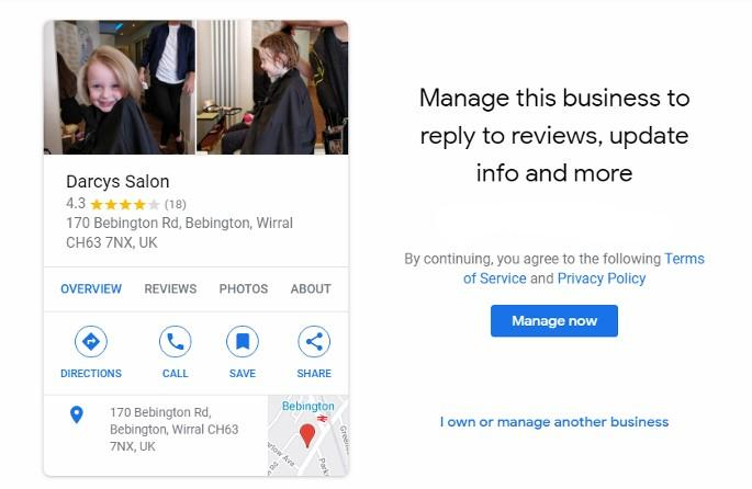Google My Business Manage Now Screen