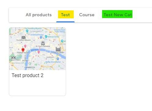 Screenshot of Google My Business Product Section - Menu Bar with new category