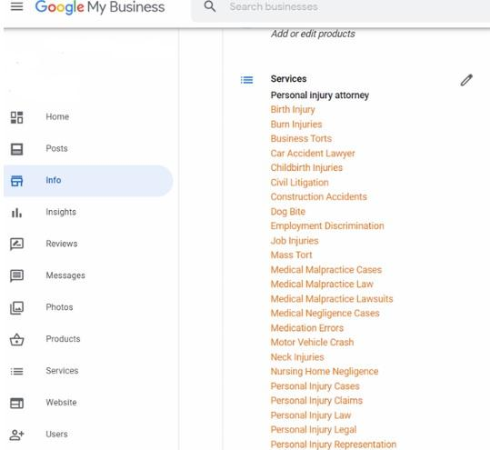 Google My Business Services Suggestions