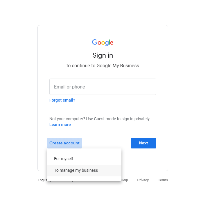 screenshot of Google My Business Sign in Screen - Create Account Button Option