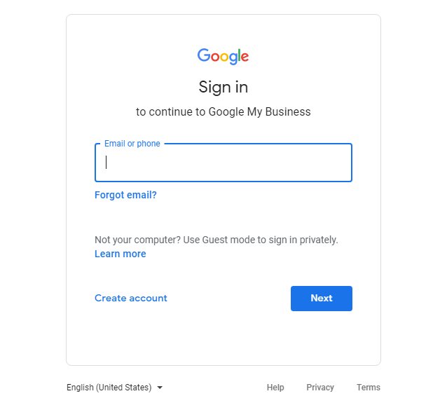 Google My Business Sign in Screen