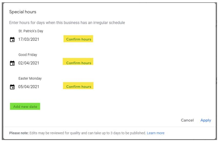 screenshot of Google My Business Dashboard Special Hours Editor