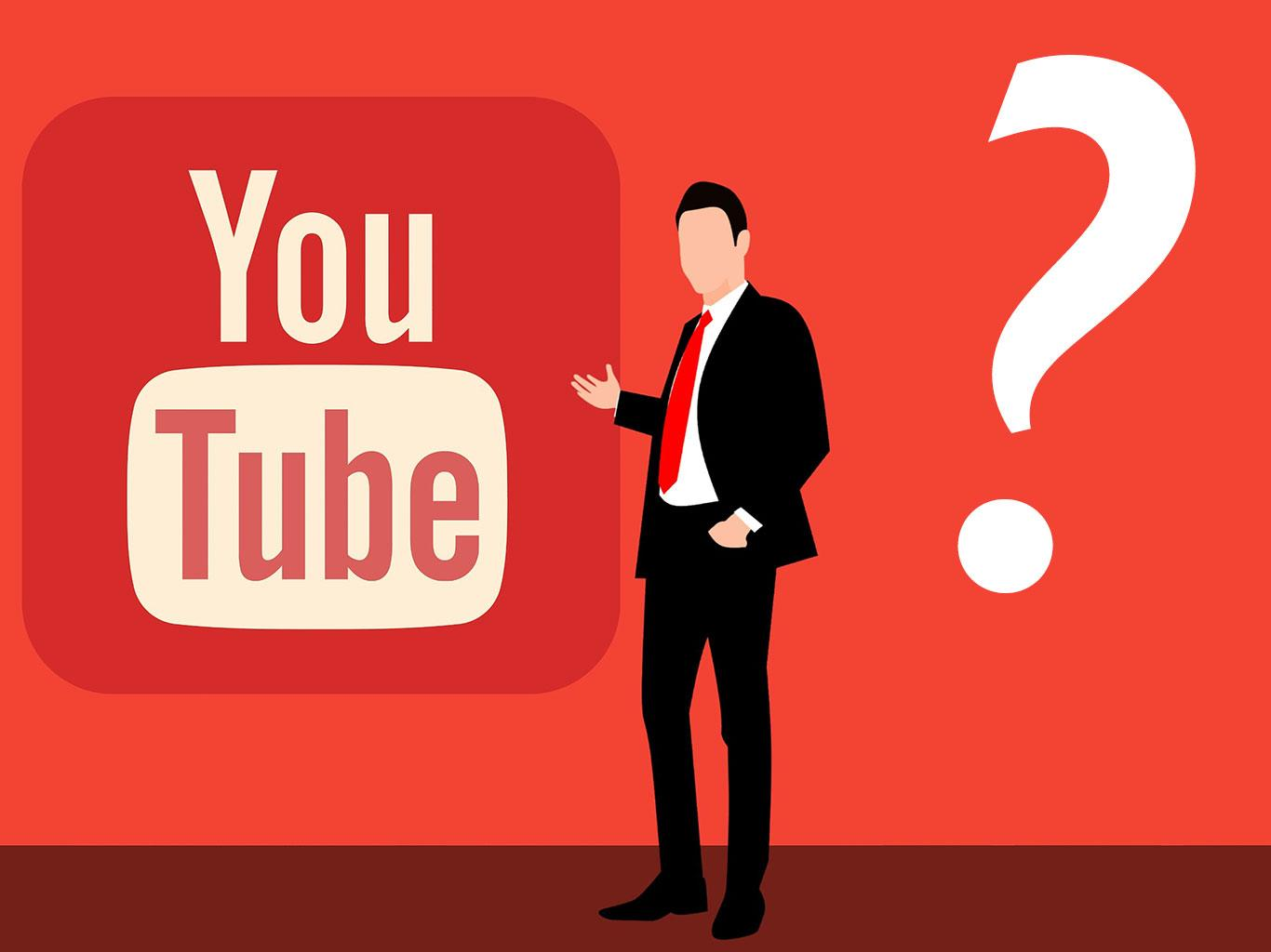 youtube logo in a red background and a suit guy with a interrogation mark next to him