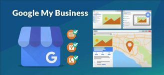 image with Google My Business text, google my business logo, message icon, map pin icon, phone icon, google listing image, map listing image, blue background