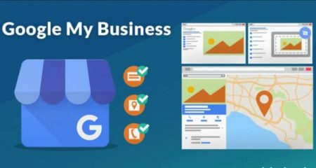 The image has the Google my business logo (a blue shop with a G), next to it is a representation with icons with description, location and phone, and on the right is a representation of what my business is looking for with images, map, location, this image is for google my business workshop