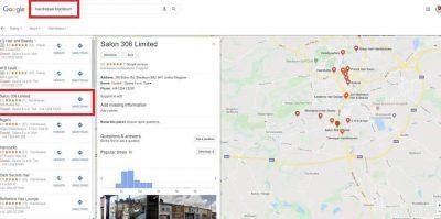 Hairdresser Blackburn Google Local Map Pack listings screenshot