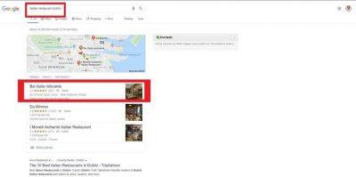 Italian Restaurant Dublin Google Local Search Pack