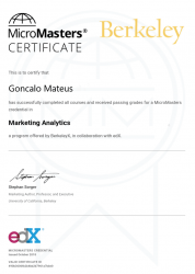 Image of Berkeley University Marketing Analytics Micromasters Certificate,