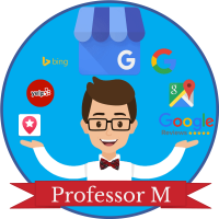 professor m logo with a cartoon version of Professor M, a red banner at the bottom with
