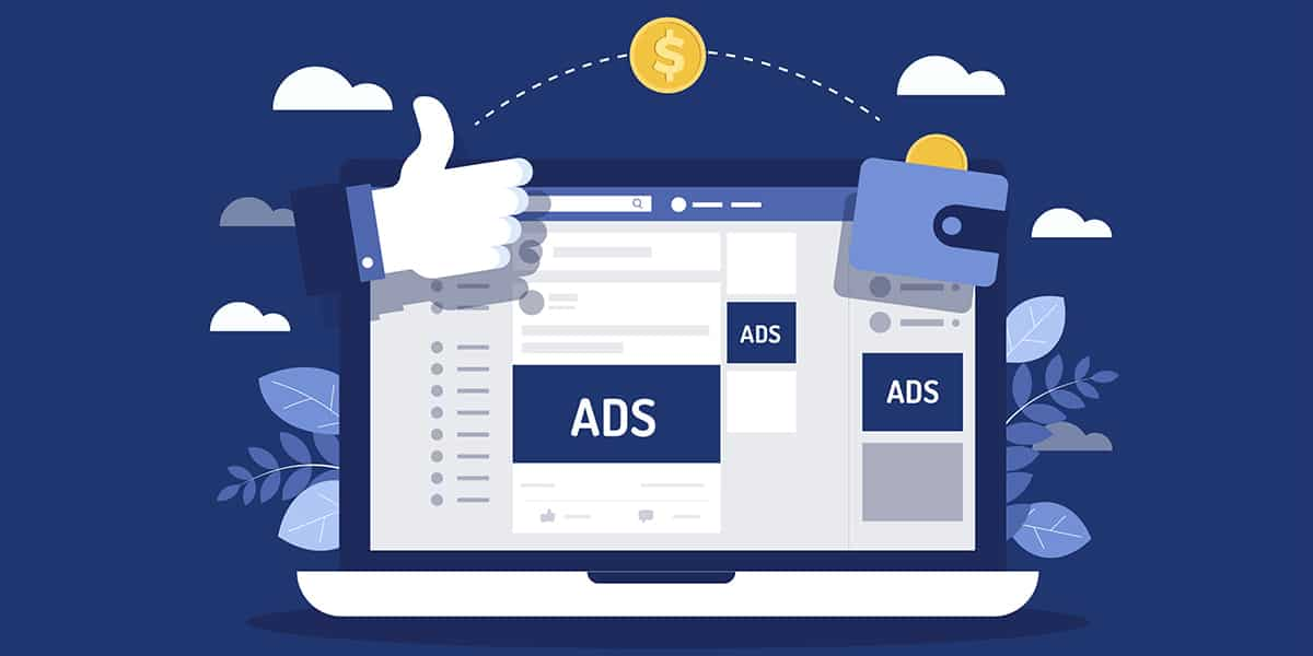 a facebook page cartoon with small boxes saying ads on various sites around to represent workshop on facebook ads