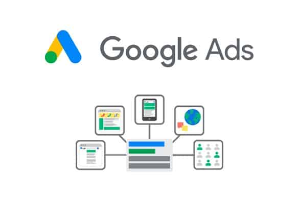 it has the google ads logo and underneath it has a google search page cartoon and small bubbles around it with different features of google ads to represent ads workshop with google