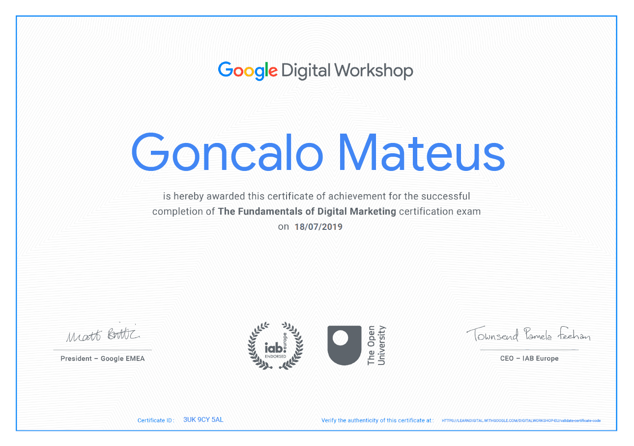 Image of Google Certificate for Google Digital Workshop
