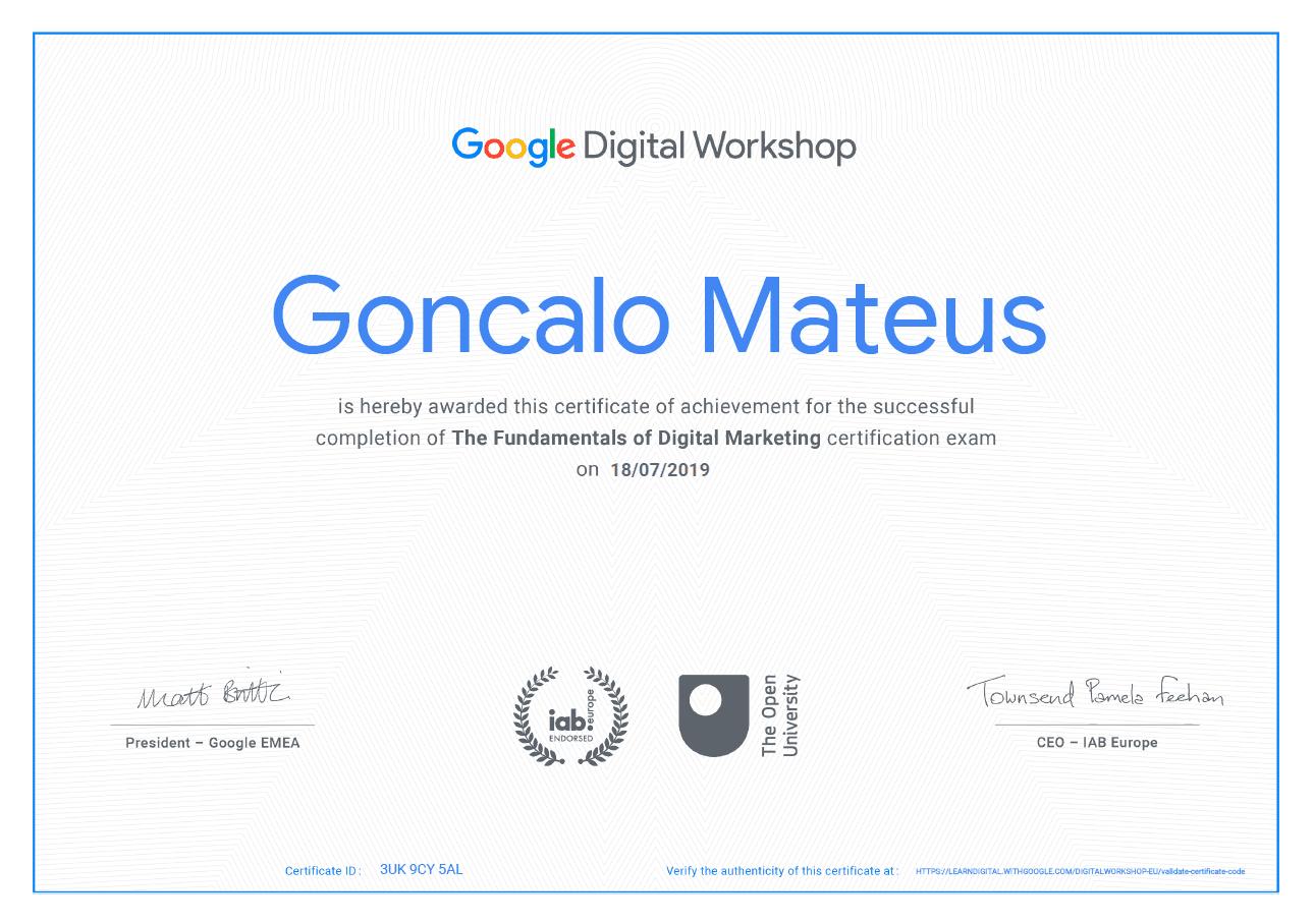 Image of Google Certificate for Google Digital Workshop