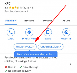 Google My Business Local Order Pickup Button Example