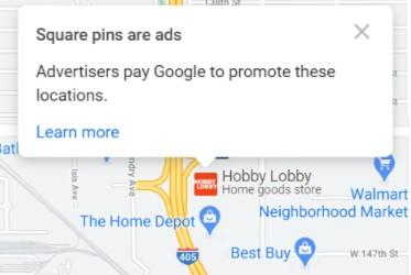 Example of GMB Local Ads Square Pins in Google Maps