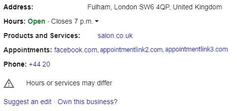 screenshot of Google My Business of Appointment Links Add Preferred Link button In the Profile