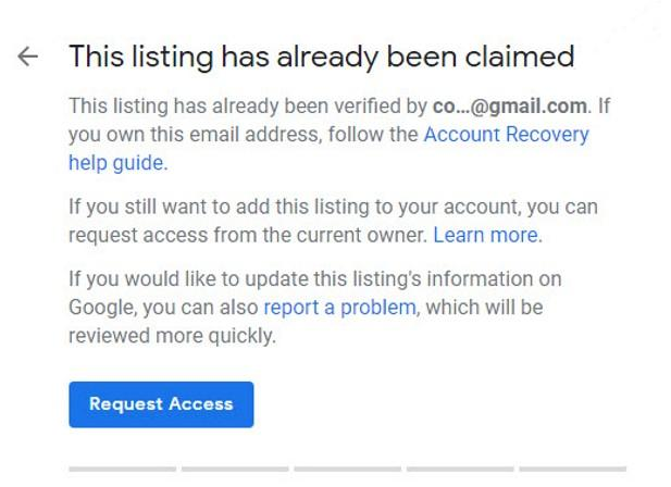 Google My Business Claimed Verified Listing Message screenshot