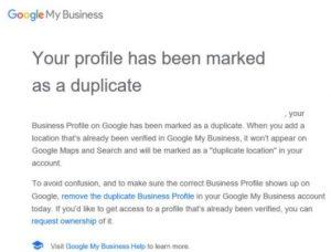 Google My Business Duplicate Email Notification Example