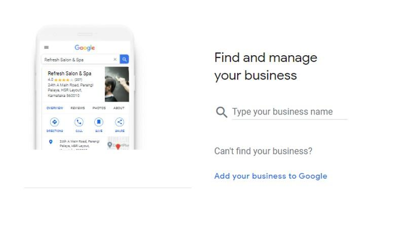 Google My Business Find and manage your business screen
