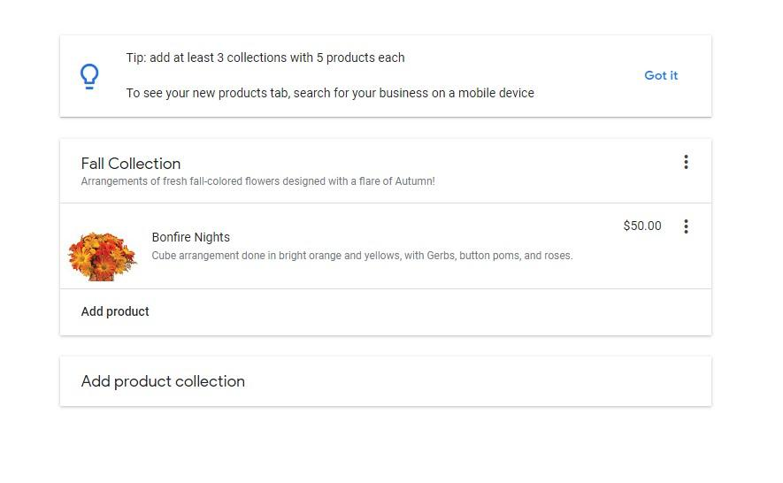 screenshot of Google My Business First Product Editor