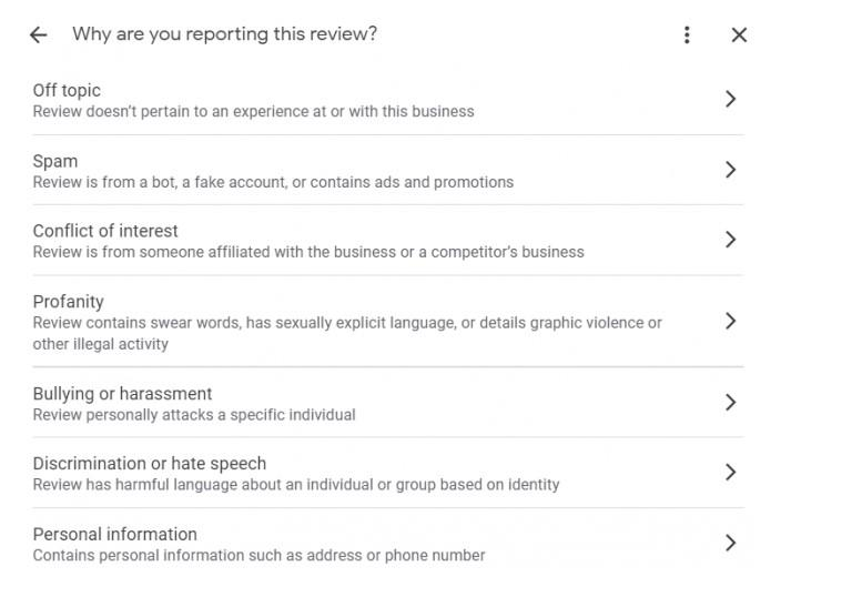 screenshot of Google My Business New Flag Review Form
