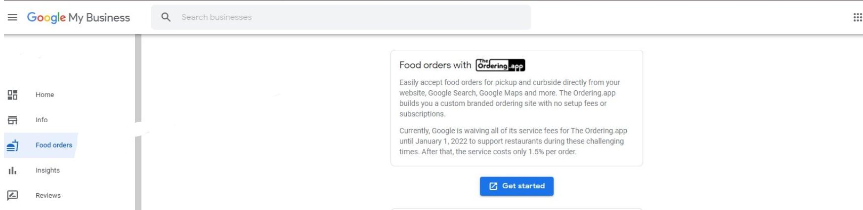 Google My Business Food Orders Section Screenshot