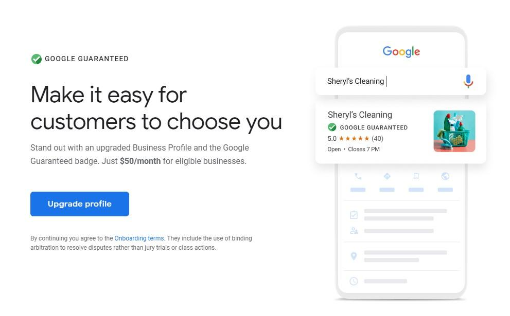 screenshot of Google My Business Guaranteed Badge Upgrade Page