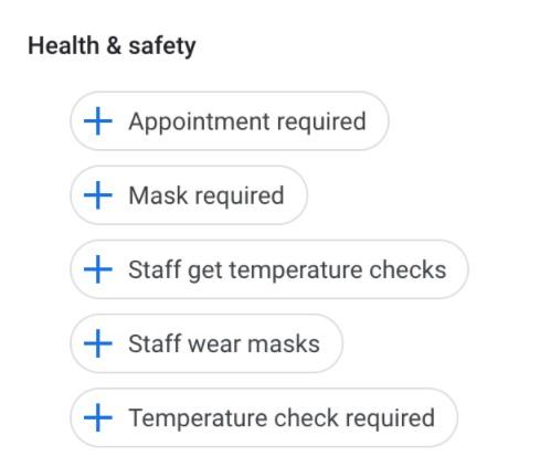 screenshot of Google My Business Health Safety Attributes