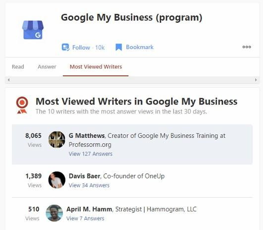 Professor M is a Quora Most Viewed Writer in Google My Business Topic - January 2021 Screenshot