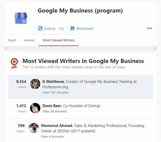 Professor M is a Quora Most Viewed Writer in Google My Business Topic - Last Month 2021 Screenshot