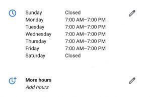 screenshot of Google My Business More Hours Editor