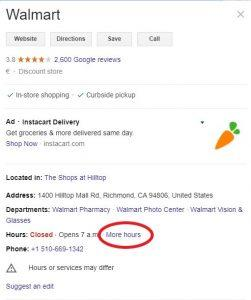 Google My Business More Hours in the Listing Example