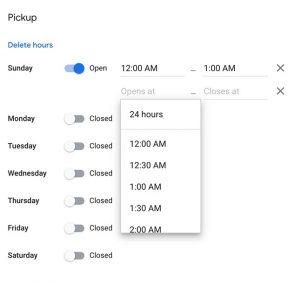 screenshot of Google My Business More Hours Editor Hours and Days Setup