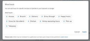screenshot of Google My Business More Hours Editor Specific Options