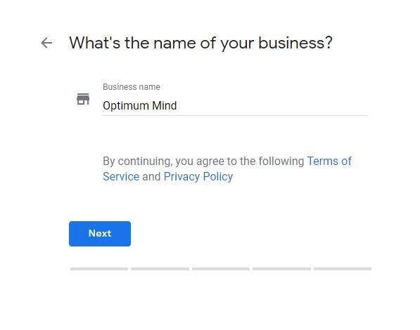Google My Business What's the name of your business screen