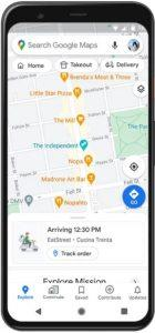 screenshot of Google Maps Takeaway Live Status