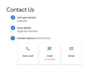 screenshot of Google My Business Contact Options - Get a call (phone support), Chat, Email