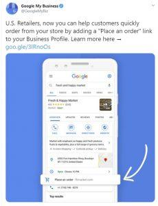 screenshot of Twitter Post with the new update: Google My Business Place An Order Link