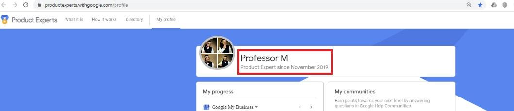 Professor M - Google My Business Product Expert Profile