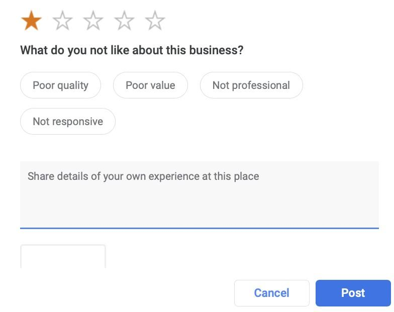 Google Reviews Attributes Options for 1 Star Example