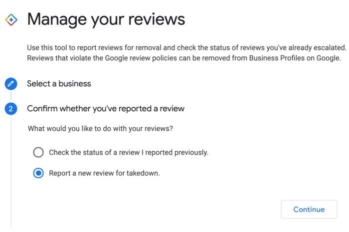 screenshot of Google My Business - Google Reviews Workflow Tool - Step 2