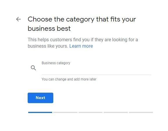 Google My Business Setup Choose the Category of Your Business screen