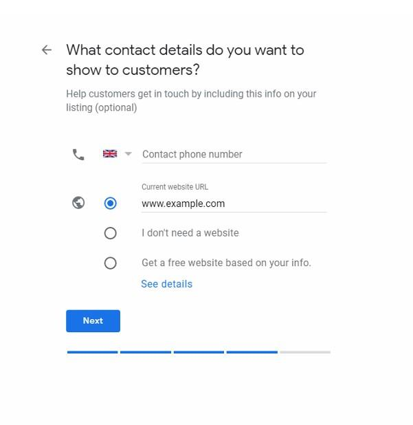 Google My Business Setup Business Contact Details screen